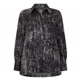 MARINA RINALDI CROCODILE PRINT SILK SHIRT  - Plus Size Collection