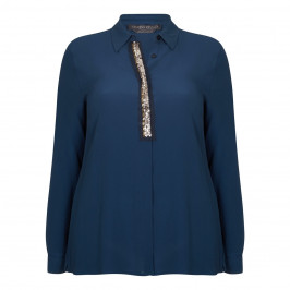 MARINA RINALDI TEAL SILK BLEND SHIRT WITH EMBELLISHED PLACKET - Plus Size Collection