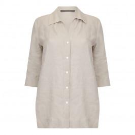 Marina Rinaldi ecru classic linen SHIRT - Plus Size Collection
