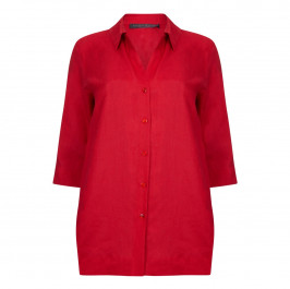 Marina Rinaldi red classic linen SHIRT - Plus Size Collection