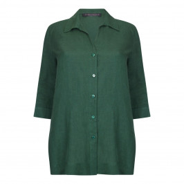 Marina Rinaldi forest green classic linen SHIRT - Plus Size Collection