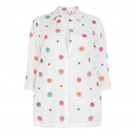 MARINA RINALDI WHITE LINEN SHIRT WITH MULTI-COLOURED EMBROIDERY - Plus Size Collection