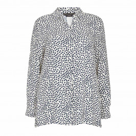 MARINA RINALDI SPOT SHIRT NAVY AND WHITE - Plus Size Collection