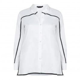 MARINA RINALDI COTTON POPLIN SHIRT WITH LINE DETAIL - Plus Size Collection