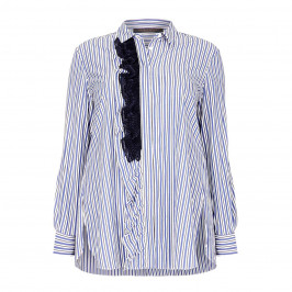 MARINA RINALDI STRIPE COTTON SHIRT WITH RUFFLE - Plus Size Collection