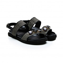 Marina Rinaldi jewelled black flat wedge sandals - Plus Size Collection
