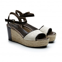 Marina Rinaldi brown espadrille wedge sandals - Plus Size Collection