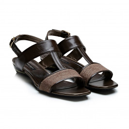 Marina Rinaldi brown t-bar sandals - Plus Size Collection