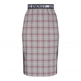 MARINA RINALDI CHECK SKIRT WITH LOGO WAISTBAND - Plus Size Collection