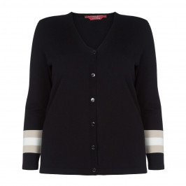 MARINA RINALDI BLACK CARDIGAN WITH STRIPE PLEAT REAR INSERT - Plus Size Collection