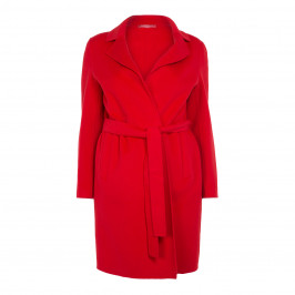MARINA RINALDI RED WOOL BLEND DOUBLE LAYER COAT - Plus Size Collection