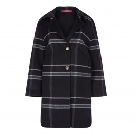 MARINA RINALDI CHECK WOOL BLEND COAT - Plus Size Collection