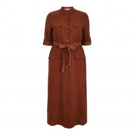 MARINA RINALDI COLLARLESS SHIRT DRESS TAN - Plus Size Collection