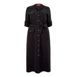 MARINA RINALDI COLLARLESS SHIRT DRESS BLACK - Plus Size Collection