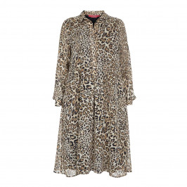 MARINA RINALDI LEOPARD PRINT GEORGETTE SHIRT DRESS - Plus Size Collection