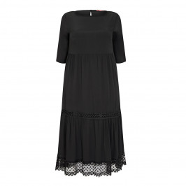 MARINA RINALDI SPORT VISCOSE CREPE DRESS BLACK