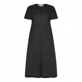 MARINA RINALDI BLACK LINEN DRESS WITH V-NECK  - Plus Size Collection