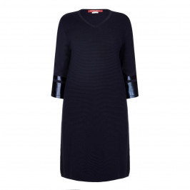 MARINA RINALDI NAVY RIB KNIT DRESS - Plus Size Collection