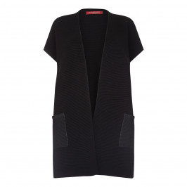 Marina Rinaldi RIBBED BLACK GILET WITH  COATED POCKETS - Plus Size Collection