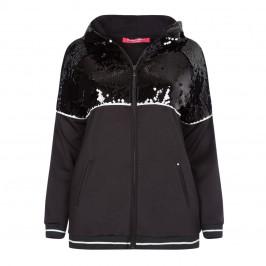MARINA RINALDI SEQUIN HOODY BLACK - Plus Size Collection