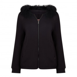 Marina Rinaldi Black fur trimmed HOODY - Plus Size Collection