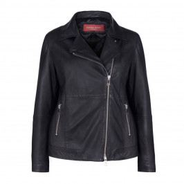 MARINA RINALDI BLACK LEATHER JACKET WITH STITCH DETAILING  - Plus Size Collection