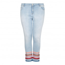 MARINA RINALDI CROPPED JEANS WITH APPLIQUES ON HEM  - Plus Size Collection