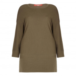 Marina Rinaldi khaki textured KNITTED TUNIC - Plus Size Collection
