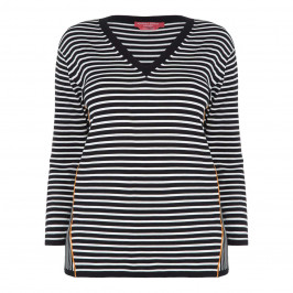 MARINA RINALDI V-NECK BLACK AND WHITE STRIPE SWEATER - Plus Size Collection