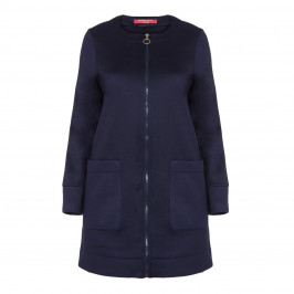 MARINA RINALDI LONGLINE NAVY JACKET - Plus Size Collection