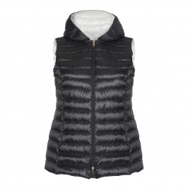 MARINA RINALDI HOODED BLACK PUFFER GILET - Plus Size Collection