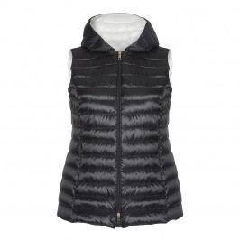 MARINA RINALDI HOODED BLACK PUFFER GILET - Plus Size Collection