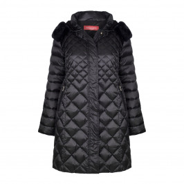 MARINA RINALDI BLACK FITTED PUFFA COAT WITH DETACHABLE HOOD  - Plus Size Collection