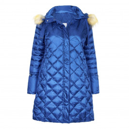 Marina Rinaldi COBALT BLUE HOODED PUFFER COAT - Plus Size Collection