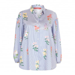 Marina Rinaldi blue floral on stripe cotton SHIRT - Plus Size Collection