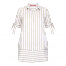 Marina Rinaldi sand & white stripe linen mix SHIRT - Plus Size Collection