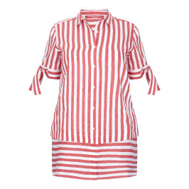 Marina Rinaldi red & white stripe linen mix SHIRT - Plus Size Collection