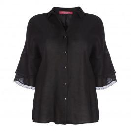 MARINA RINALDI BLACK LINEN SHIRT - Plus Size Collection