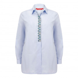 MARINA RINALDI COTTON SHIRT PALE BLUE - Plus Size Collection