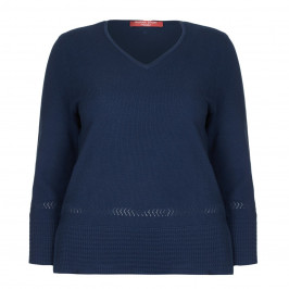 MARINA RINALDI NAVY COTTON V-NECK SWEATER - Plus Size Collection