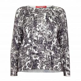 MARINA RINALDI COTTON BLEND PAISLEY SWEATER - Plus Size Collection