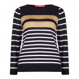 MARINA RINALDI NAVY & GOLD SWEATER - Plus Size Collection