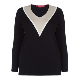 MARINA RINALDI BLACK INTARSIA SWEATER - Plus Size Collection