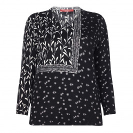 MARINA RINALDI BLACK FOLK PRINT SWEATER  - Plus Size Collection