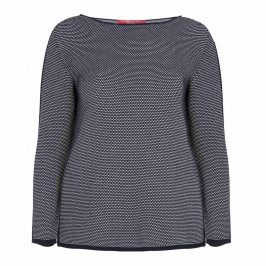 MARINA RINALDI 100% COTTON NAVY SWEATER TEXTURED KNIT - Plus Size Collection
