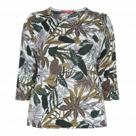 MARINA RINALDI COTTON BLEND BOTANICAL PRINT SWEATER - Plus Size Collection