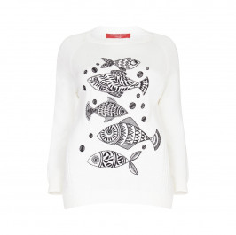 Marina Rinaldi fish motif sport SWEATER - Plus Size Collection