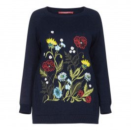 Marina Rinaldi navy floral embroidered SWEATER - Plus Size Collection