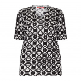 Marina Rinaldi monochrome print v-neck SWEATER - Plus Size Collection