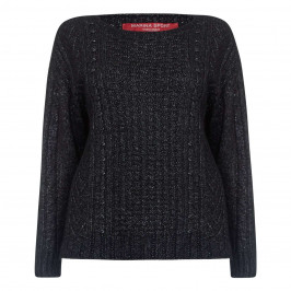 Marina Rinaldi Black Metallized Cable Knit sweater - Plus Size Collection